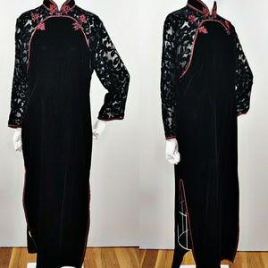 Vintage NWT 1990s Black Silk Velvet Burnout Asian